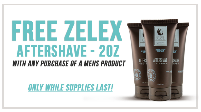 Free Zelex AfterShave 2OZ with any purchaise of a mens product